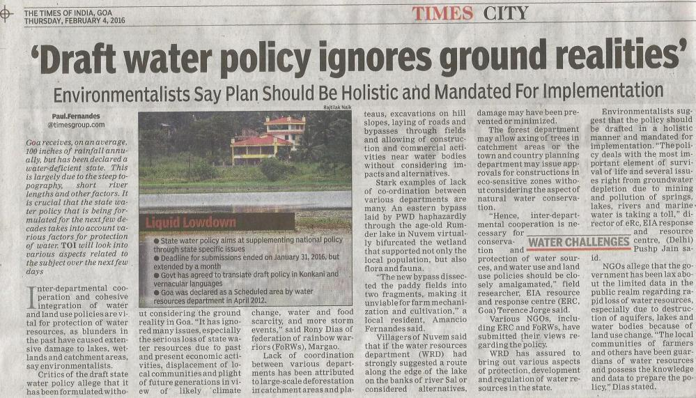 ToI Pg 02 04022016 Draft Water Policy ignores ground realities
